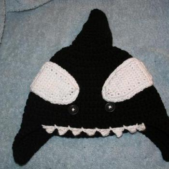 Crocheted Orca Whale Ear Flap Beanie